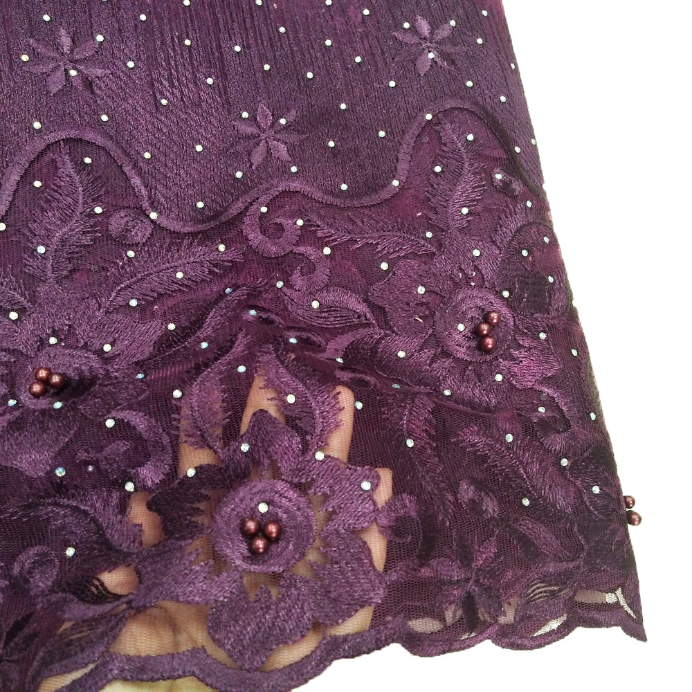 Hot sale purple lace fabrics with stones and sequences for women wedding dress high quality in Lace from Home Garden