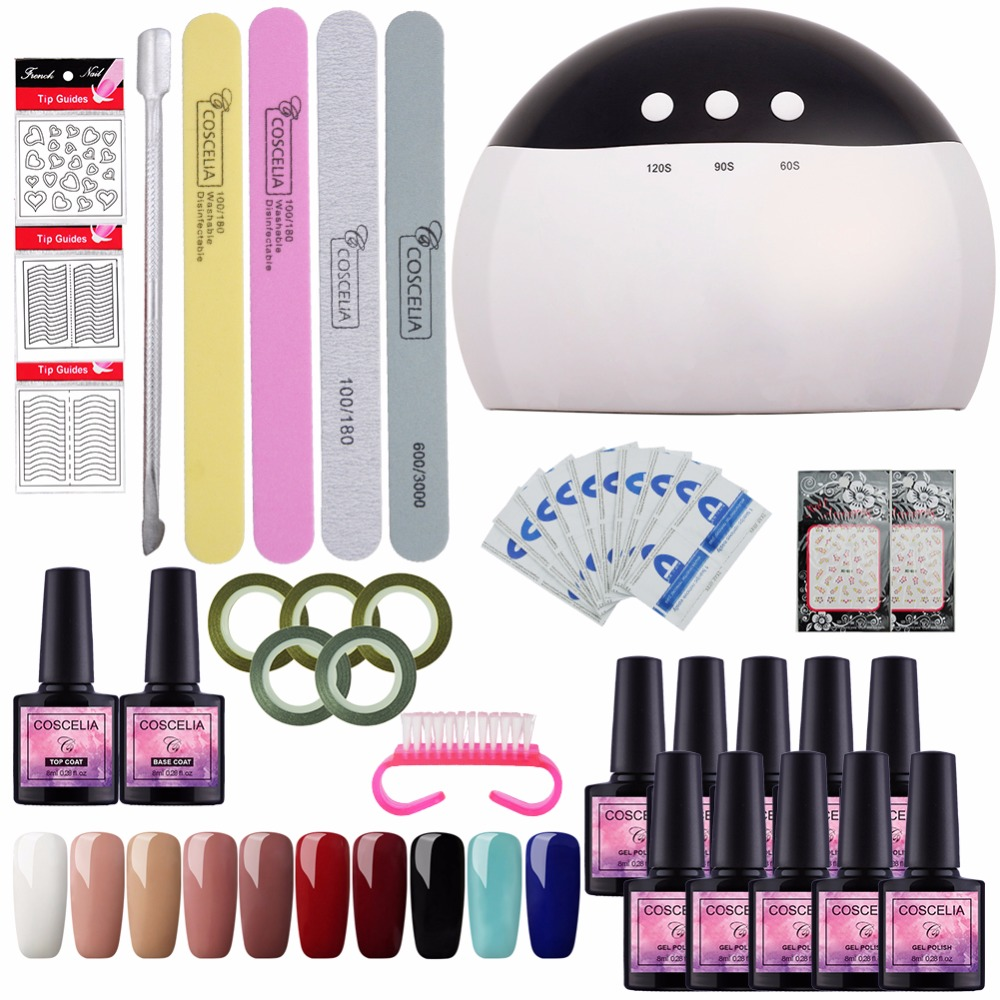 Hot Sale] Full Manicure Set With Lamp 24/36W Gel Nail Polish Set ...