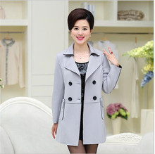 2016Autumn Winter Middle-aged  Women Double-breasted Deer Velvet Trench Coat Women Lapel Pure color Big yards Leisure Coat G1664