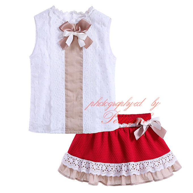 Pettigirl Fashion Style Wholesale Bow Baby Girl Clothing Set White Tops And Red Skirt Fashion