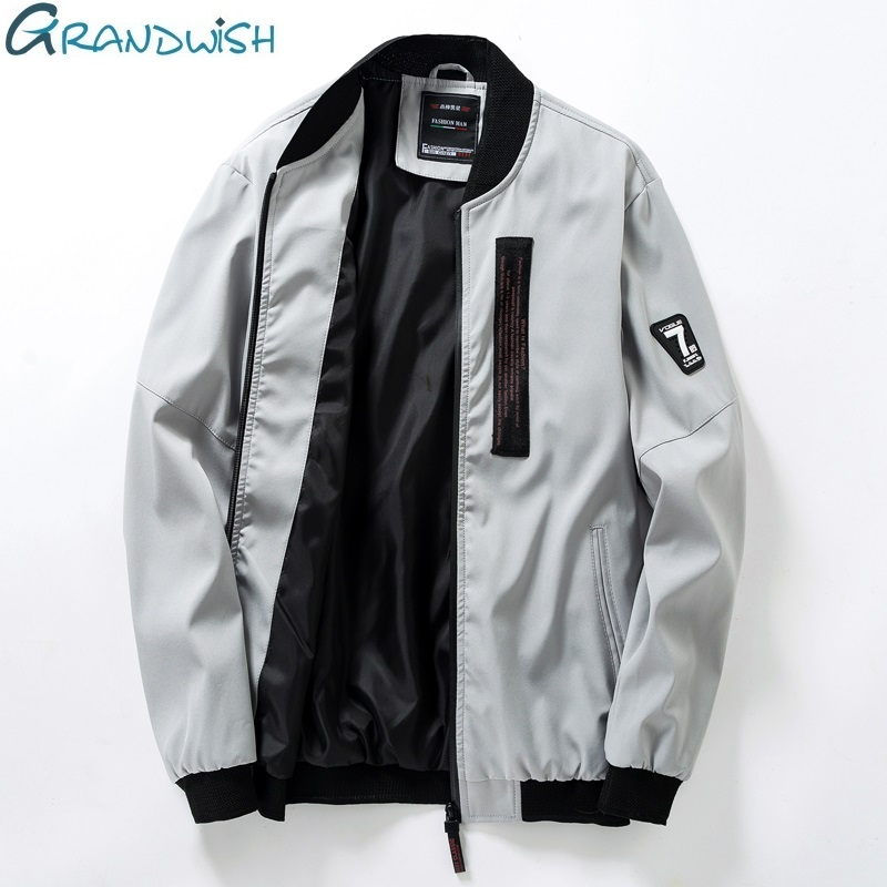 Grandwish Plus Size 4XL Men's Jackets Coats Hip Pop Streetwear Jacket Male Slim Fit Mens Windbreaker Jacket 5 Colors ,DA496