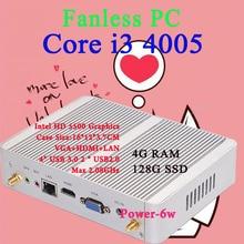 Мини-ПК Intel Core i3 4005Y 4 ГБ ОЗУ 128 ГБ SSD Max 2.08 ГГц VGA HDMI 4 К HTPC Малый TV Box Windows 10 Безвентиляторный Barebone USB 3.0
