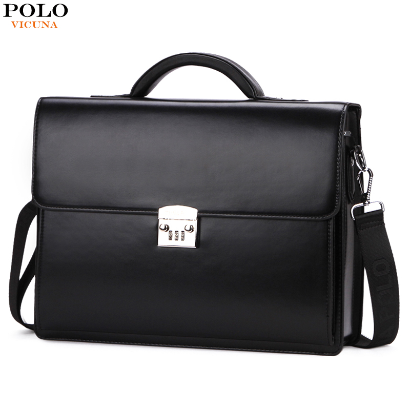 VICUNA POLO Luxury Famous Brand Password Lock Leather Bag