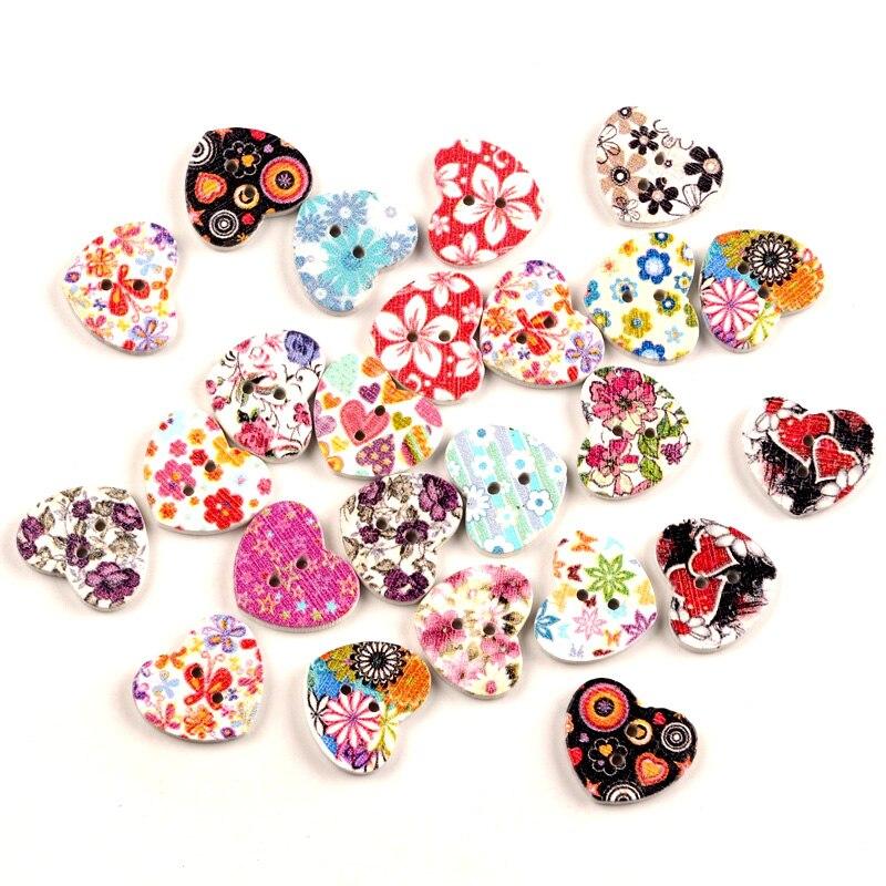 50 יחידות מעורב לב פרח עץ תפירת כפתורים לילדים בגדי רקמה רעיונות דקורטיבי מלאכת DIY אביזרים