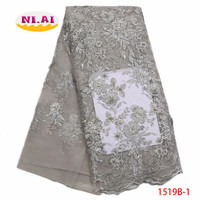 Latest 2018 Nigerian French Mech Lace Fabrics Embroidered High Quality African Lace Fabric Gray Lace Fabric For Party XY1519B 1
