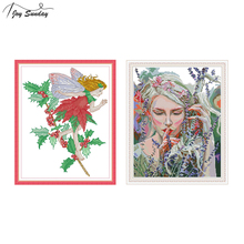 Joy Sunday Flower Angel Cross Stitch Kits for Embroidery Kit Needlework DMC Printed Canvas Aida Fabric Needles