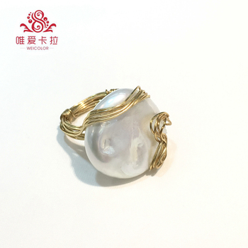 WEICOLOR DIY!Popular Handmade Ring, 20-22mm White Coin-shaped Freshwater Pearl on Gold Mixed . Contact for Size in Diameter.