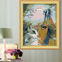 ФОТО fantasy girl and cat  printed canvas dmc counted chinese cross stitch kits printed cross-stitch set embroidery needlework