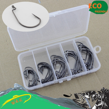 Single worm hook 50pcs soft lure fishing worm hook plastic fishing box packing