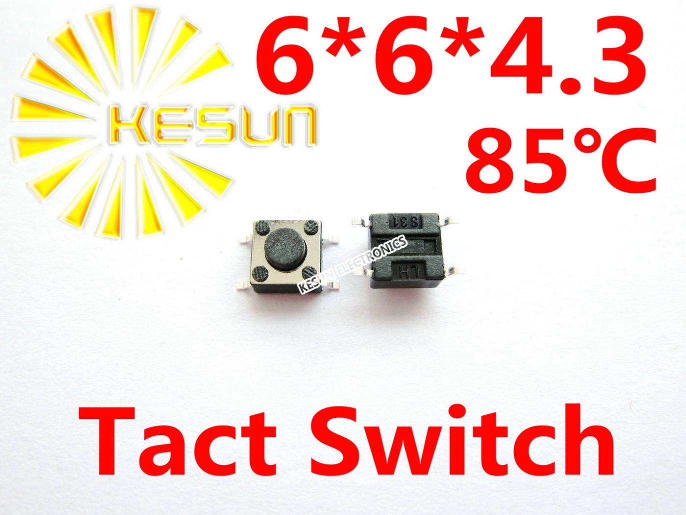 Intellective 1000pcs 6x6x4.3 Smd Tactile Tact Mini Push Button Switch Micro Switch Momentary Electronic Components & Supplies Integrated Circuits