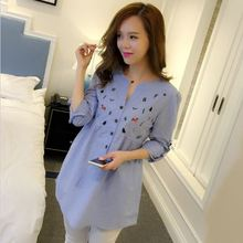 Waist Pleated Embroidery Cotton Full Sleeve Maternity Shirt Spring Autumn Blouse Tops Clothes Pregnant Women Pregnancy Clothing
