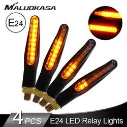 Led sinais de volta para a motocicleta e24 piscando luzes fluindo água blinker cauda luz indicadora sinais volta automóvel estilo do carro