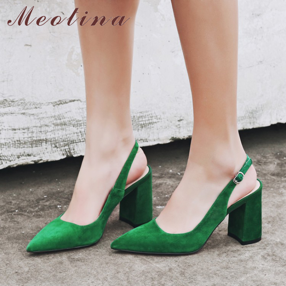 Meotina Women Shoes Pumps Party-Heels Beige Suede Pointed-Toe Green Thick Lady Slingbacks