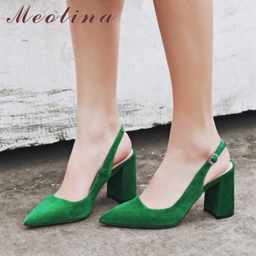 Meotina Women Shoes Kid Suede High Heels Pointed Toe Slingbacks Thick High Heel Pumps Autumn Lady Party Heels Green Beige 34-39 serok ikan