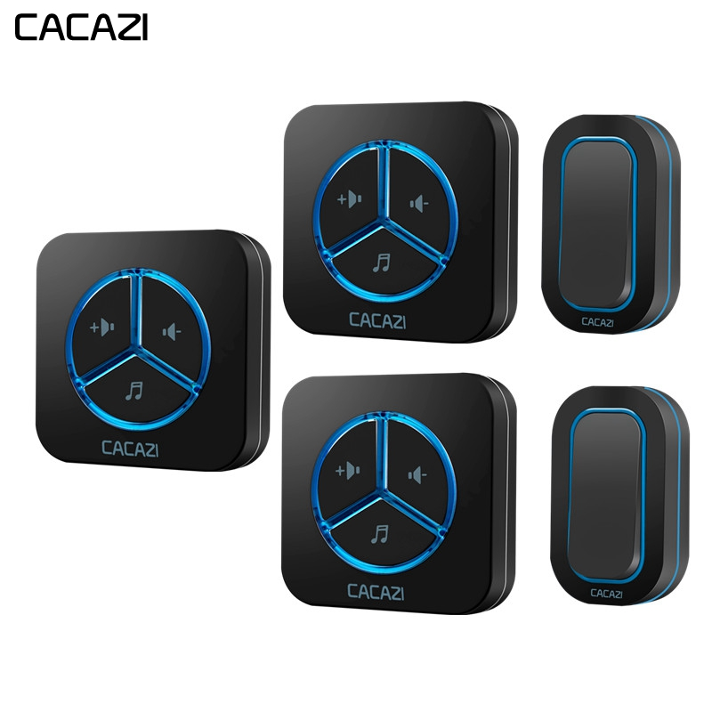 CACAZI Waterproof Home Wireless Doorbell led light 2 Battery Button 3 Receiver 280M Remote US EU Plug Cordless door bell chimesCACAZI Waterproof Home Wireless Doorbell led light 2 Battery Button 3 Receiver 280M Remote US EU Plug Cordless door bell chimes