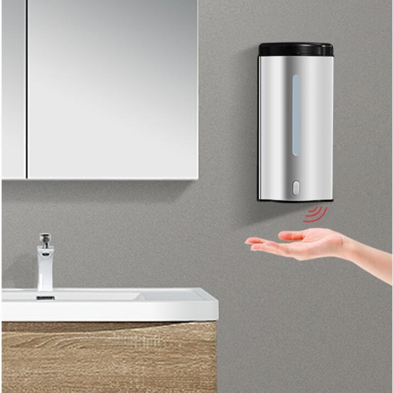 600 Ml Automatic Sense Soap Dispenser Wall Mounted Stainless Steel Material Touch-free AC Or DC For School Or Hotel