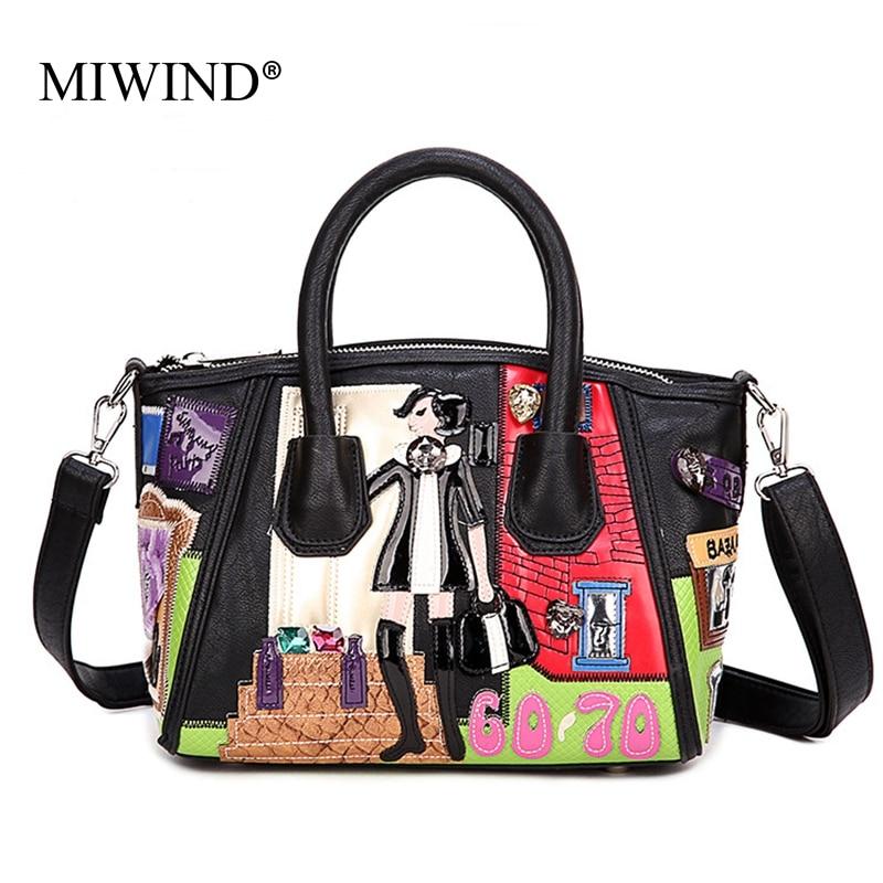 ФОТО MIWIND Brand 2016 Newest Luxury Design Women Handbag Hobos Day Clutches Hand-made Embroidery Handbag Lady Figure Bolsa Feminina