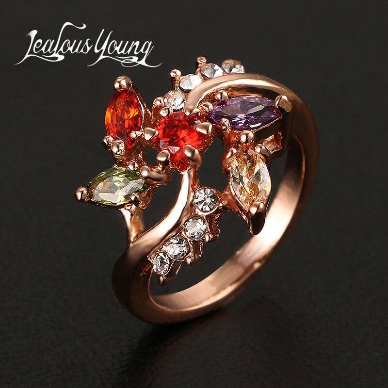 Temperamentvoll Mode Multicolor Rose Gold Farbe Zirkonia Verlobungsringe Für Frauen Schmuck Bague Ar059 Verlobungsringe