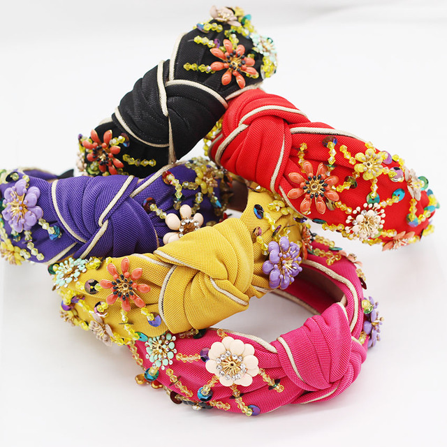 New European and American Baroque rice beads headband Bohemian fashion flowers wrapped personality dance headband 950