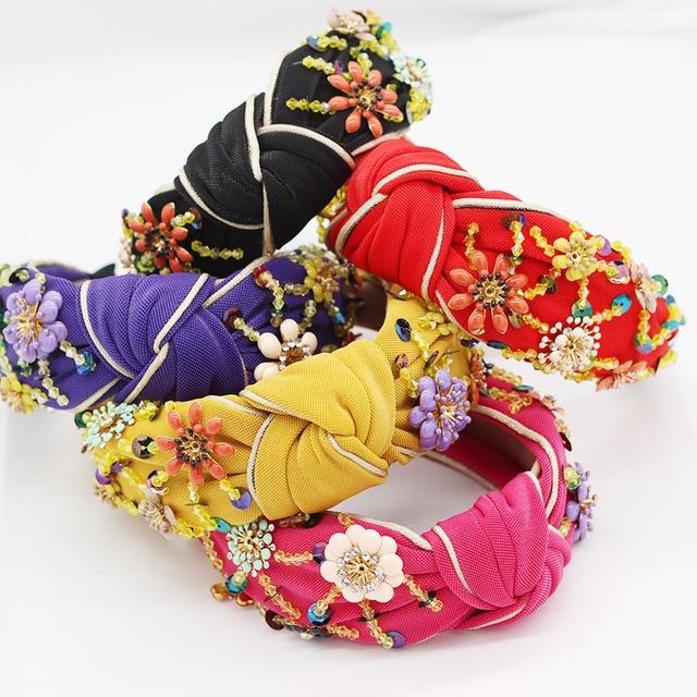Nieuwe Europese en Amerikaanse Barok rijst kralen hoofdband Bohemian mode bloemen verpakt persoonlijkheid dans hoofdband 950