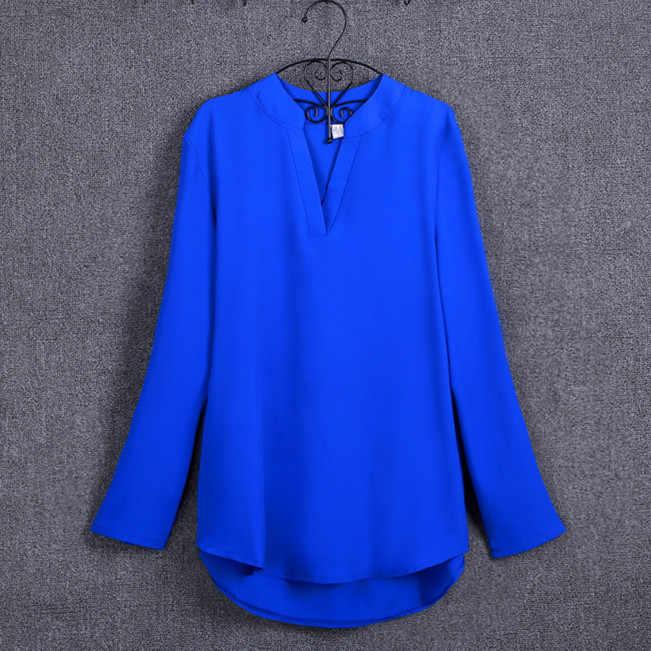 eb442ec3c64 ... Big Yard Tops Women V-neck Chiffon Blouses 3 4 Sleeve Female Shirt  Fashion