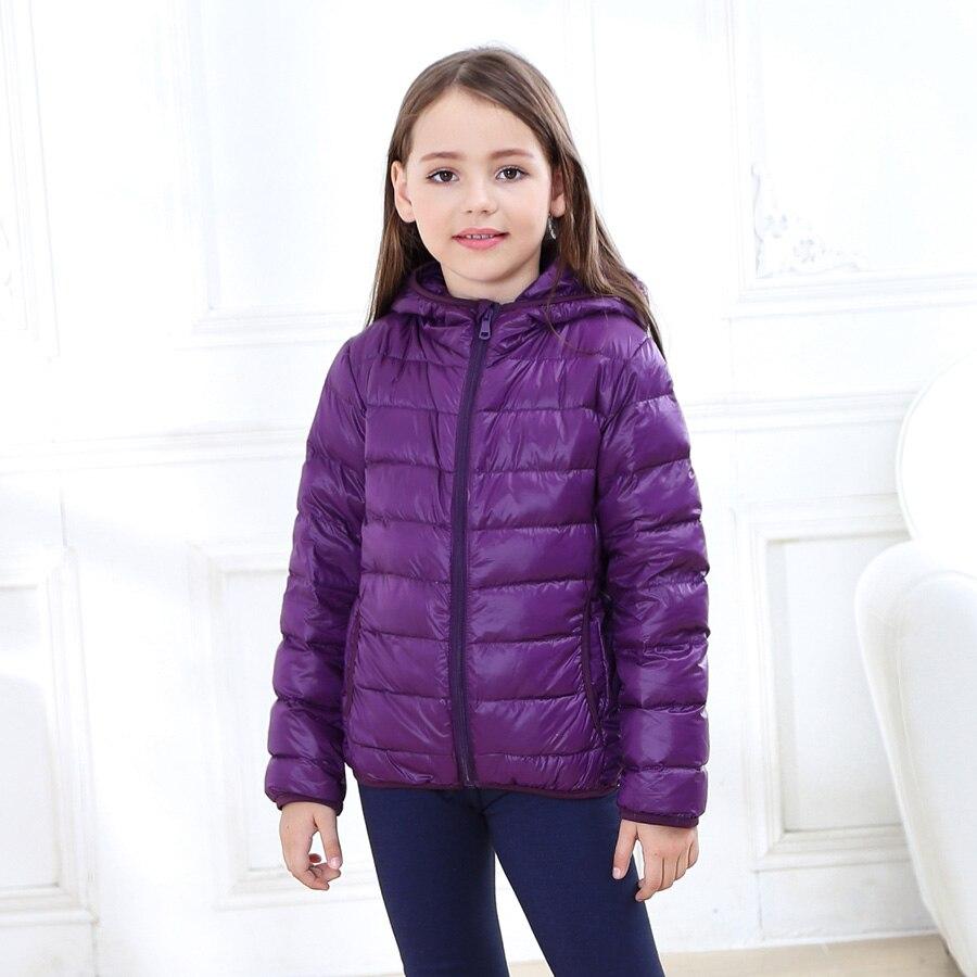Winter Light White Duck Down Coat Kids Candy Color Hooded Clothes Receive Warm Parkas Snowsuit 1-11Y