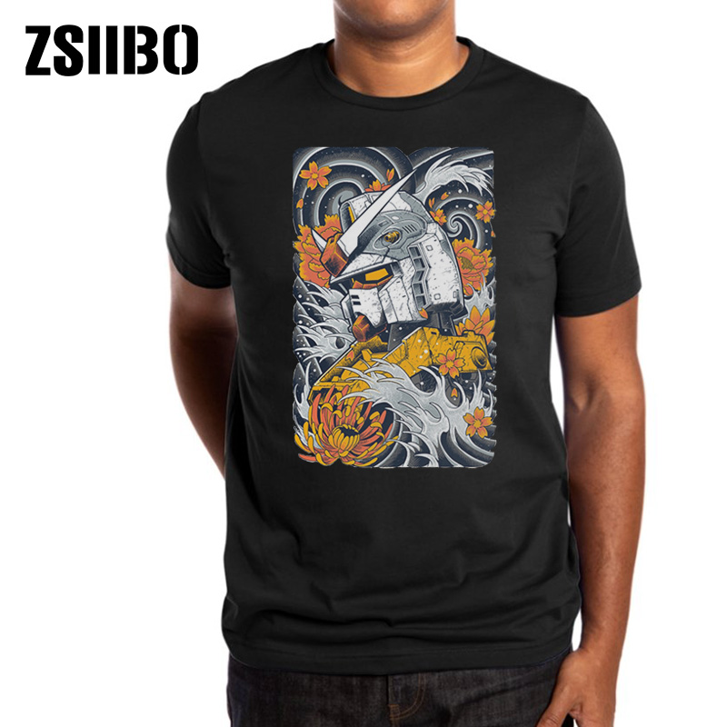 ZSIIBO Summer New Japan Harajuku Style Steel Print Men's T-Shirt Mobile Suit Gundam Model Tshirt HY1MC54