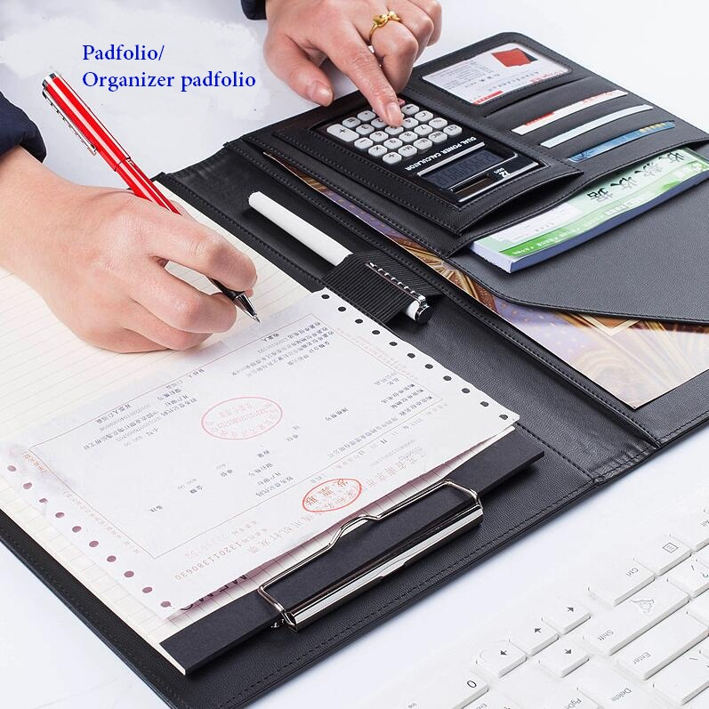 Notebooks Pu-leder Business Padfolio Multifunktions Mit Geld/bill Fällen Notebook Mit A4 Zwischenablage Notizblock Büro Veranstalter Folianten