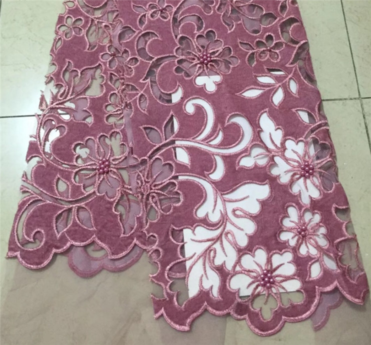 Pink Nigerian French Lace Fabrics 2018 African Beaded velvet Tulle Lace Fabric High Quality African Lace Wedding Fabric For DresPink Nigerian French Lace Fabrics 2018 African Beaded velvet Tulle Lace Fabric High Quality African Lace Wedding Fabric For Dres