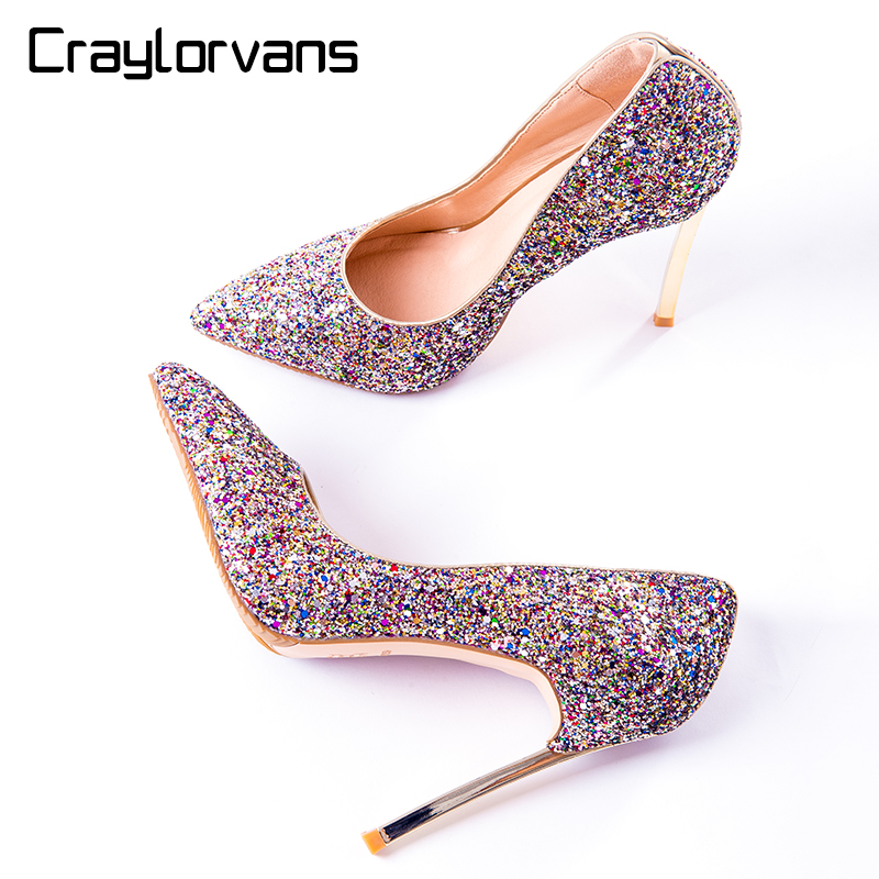 Craylorvans NEW Arrive Brand Wedding Bride Shoes Fashion Slip On Sequined Cloth Spring Autumn Women Pumps Sexy Thin Heels Shoes