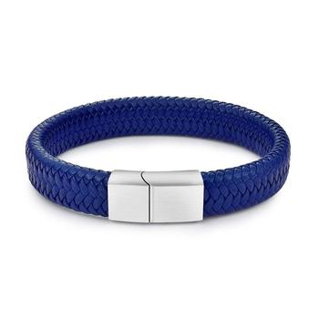 Braided Leather Men's Bracelet with Magnetic Stainless Steel Clasp Bracelets Hot Promotions Jewelry Men Jewelry New Arrivals Metal Color: Blue 1 Length: 16.5cm