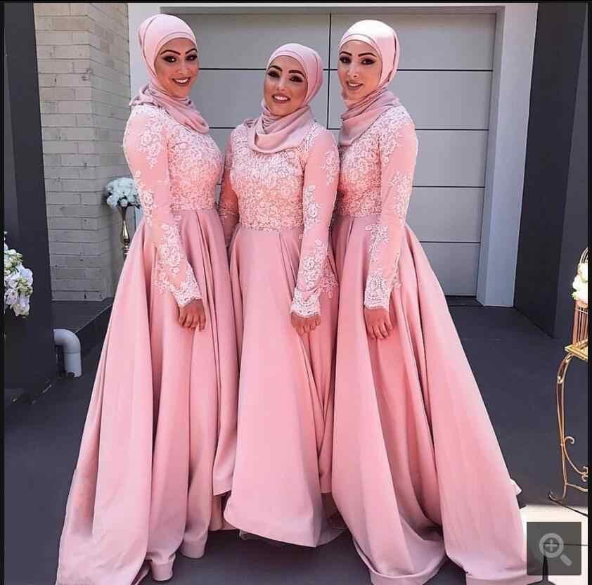 70fc1ee9f1a ... Robe De Soiree muslim pink lace long sleeve bridesmaid dress appliques high  neck modest Arabic bridesmaid ...