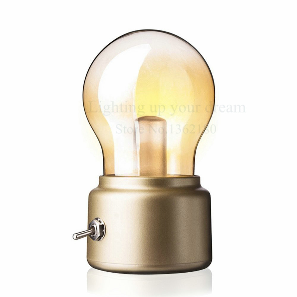 2018 Vintage Bulb Night Light Wedding USB Lamp Rechargeable ...