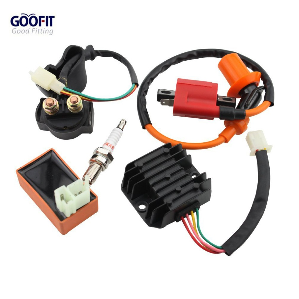 цены GOOFIT Racing Ignition Coil CDI Spark Plug Regulator Rectifier Relay CG 50cc - 125cc 150cc-250cc ATV Quad Go Kart Moped Scooter