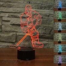 Eishockey Sportler 3D Lampe Bunte Stimmung Licht Touch Schreibtisch  Tischlampe Nachtlicht Für Kind Geschenk Fans Sammlung Calgar.