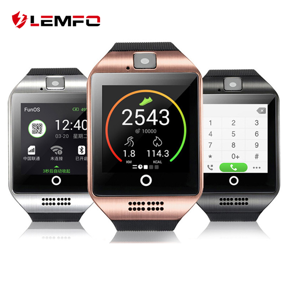 LEMFO Q18 Smart Watch Men With Touch Screen Big Battery Men's Watch Support TF Sim Card Camera for Android Phone Smart Watches stylish smart watch phone support sim tf