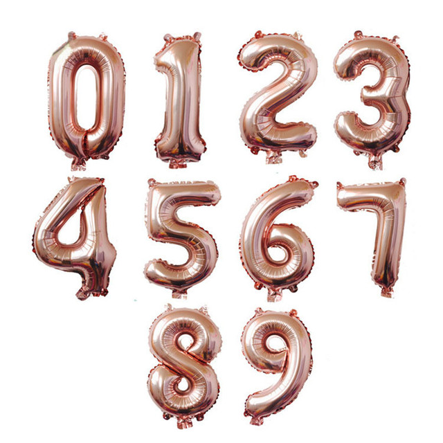 Nicro 32 inch Inflatable Rose Gold Number Balloons Air Happy Birthday Wedding Christmas Decoration Event Party Supplies #Bal09