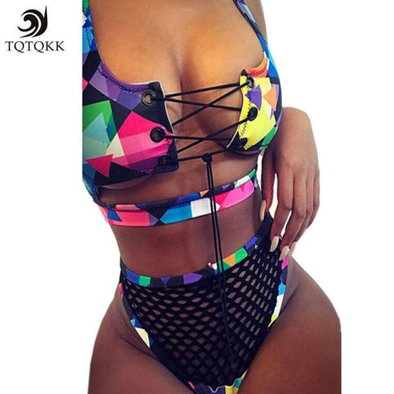 26290a054b1b 2019 Sexy Brazilian Bikini Set Thong Halter Plus Size Women Swimwear  African Print Bandage Mesh Cross