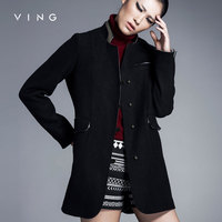 Ving Women Casacos Femininos European Autumn Winter Single Breasted Button Stand Collar Slim Women Wool Coat
