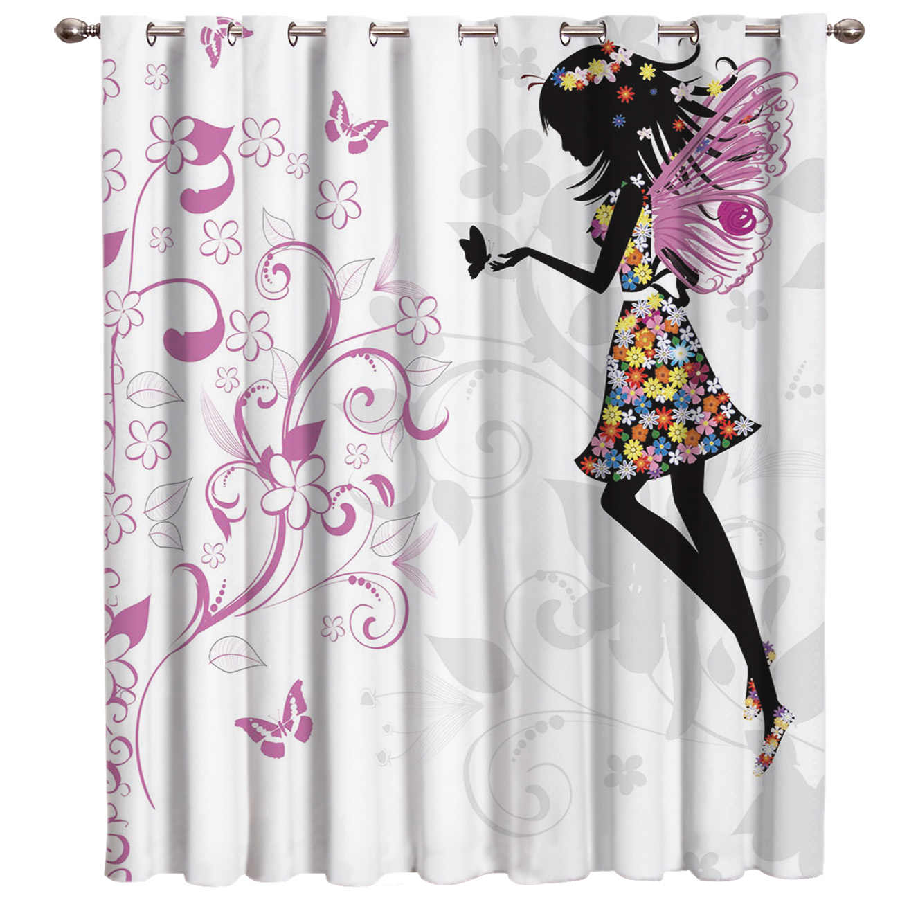 Flower and Girl Window Curtains Dark Living Room Blackout Outdoor Kitchen Fabric Decor Kids Window Treatment Hardware Sets