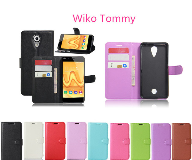 2016 New arrival Wiko Tommy Case High Quality Flip Leather Cover For Wiko Tommy Case With Credit Card Slots Wallet