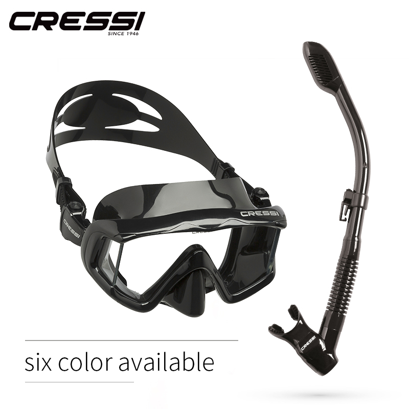 Cressi PANO3 DRY Snorkeling Set Silicone Skirt Three Lens Panoramic Scuba Diving Mask Dry Snorkel for