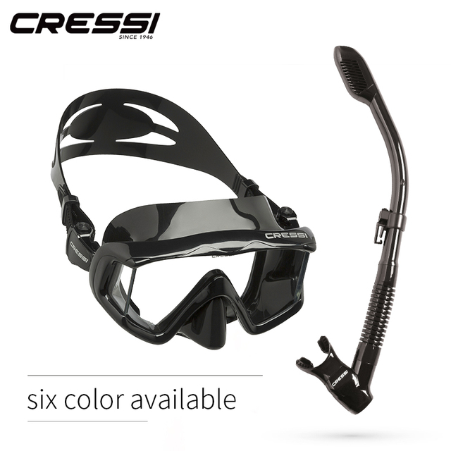 Cressi PANO3 + DRY Snorkeling Set Silicone Skirt Three-Lens Panoramic Scuba Diving Mask Dry Snorkel for Adults