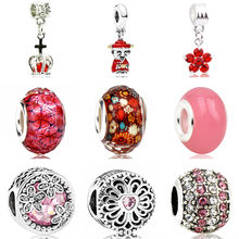 Hot Fashion Red Color Flower Love Heart God of Wealth Crown Crystal Pendant Beads Fit Pandora DIY Bracelets Femme Making Jewelry(China)