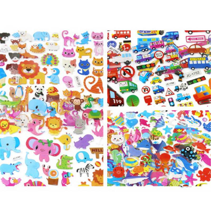 5 Sheets/lot Waterpoof DIY Puffy Bubble Stickers Mixed Cartoon Mickey Cars Spiderman Children Boy Girl Toy
