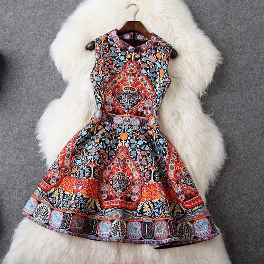 sexy Diamonds dresses 2018 New Spring casual Women fashion Print party Dress Slim Vintage Sleeveless winter