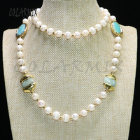 2 strands pearl necklace beaded 30 inch necklace stone necklace handcrafted necklace for women 9061