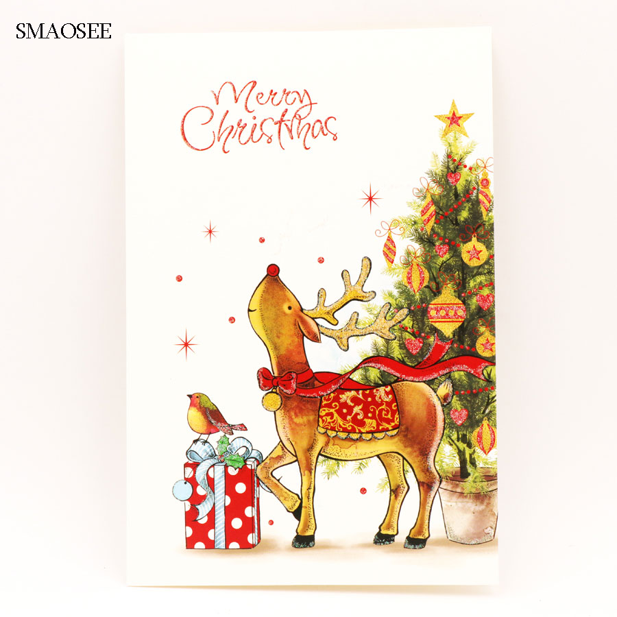 Christmas Cards 2020 For Kids 8PCS/Set Cartoon Deer Christmas Greeting Card Kids Birthday