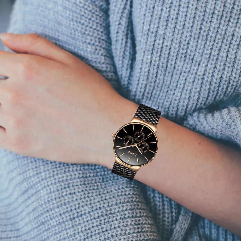 LIGE femmes montres Top marque de luxe étanche montre de mode dames en acier inoxydable Ultra-mince décontracté montre-bracelet horloge à Quartz