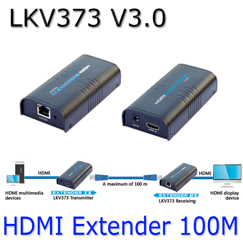 LKV373 V3.0 HDMI Extender Video Sender+Receiver Over Cat5e/Cat6 1080P Up to 100m Ethernet Network transmitter HDMI TX + RX nsendato 1080p hdmi h 264 wireless extender with ir remote 5 8ghz wifi hdmi video transmitter sender receivers up to 100m